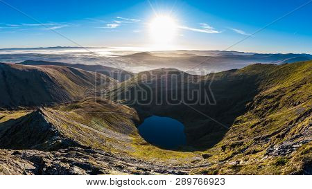 Morning View From Sharp Edge On Blencathra, Lake District, Cumbria With Lake Tarn And Cloud Inversio