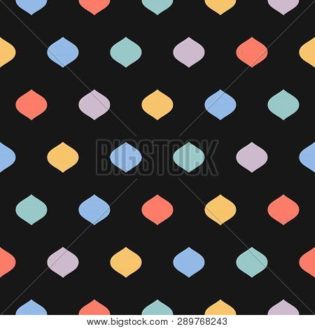 Cute Colorful Dots Seamless Pattern. Vector Texture With Geometric Spots, Confetti On Black Backgrou