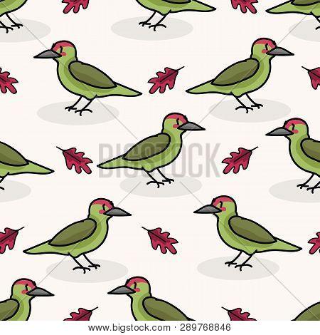 Cute Woodpecker Cartoon Seamless Vector Pattern Background. Hand Drawn