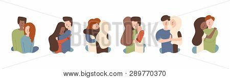 Vector Flat Set Guy With Girl Hugging African American Hugging Red-haired Girl. Hugs Warm Feelings A