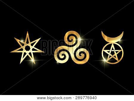 Set of Witches runes, golden wiccan divination symbols. The Elven star or the Seven-pointed Star, the Triskele or Triskelion, the Horned God. Gold shiny Ancient occult symbols vector isolated on black poster