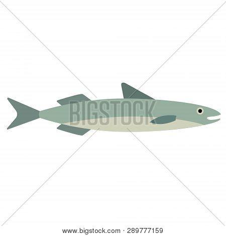 Fish Flat Illustration. Underwater Marine Life Series. Funny Cartoon Characters