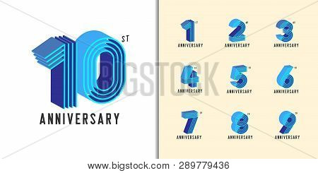Set Of Anniversary Logotype. Modern Colorful Anniversary Celebration Icons Design For Company Profil