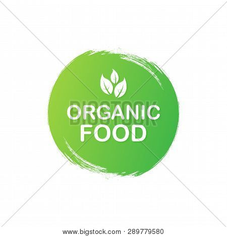 Organic Food. Healthy Food Labels With Lettering. Vegan Food Stickers. Organic Food Badge. Lettering