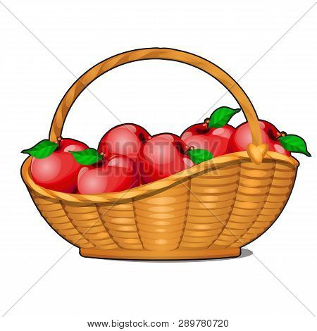 Wicker Basket Filled With Ripe Red Apples Isolated On White Background. Food Fitness Menu. Vector Ca