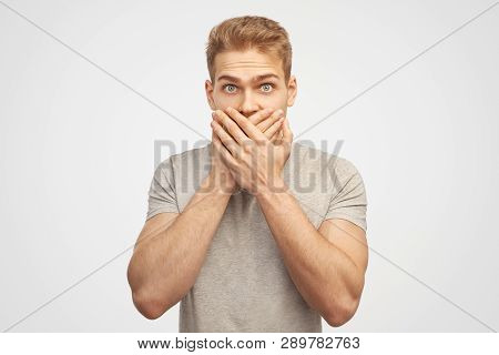 Incredulous Attractive Man Covers Mouth, Doesnt Want To Spread Rumours, Shocked To Hear Sudden News