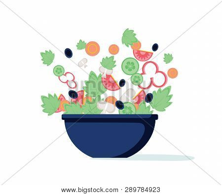 Salad Bowl. Green Salad With Peppers, Tomato, Cucumber, Mushrooms, Olives. Vector. Green Salad Of Fr