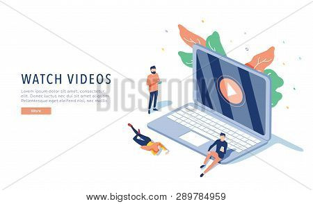 People Streaming Online Video With Their Laptop, Smartphone Vector Illustration Concept, Online Tuto
