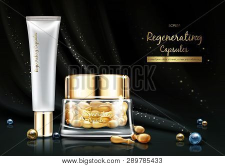 Night Cosmetics Line With Skin Regenerating Oil Or Essence Realistic Vector Banner. Hydrating Oil Ca