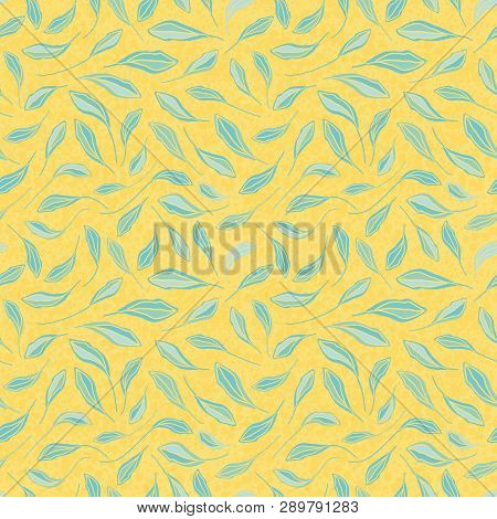 Light Blue Hand Drawn Leaves On Textured Yellow Background. Seamless Vector Repeat Pattern With Mode