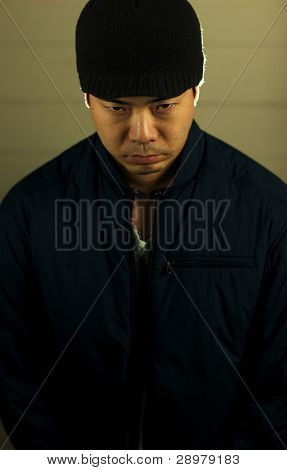 Angry Asian Man In Beanie