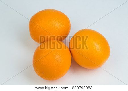 Ripe Orange Fresh Orange, Isolated On White Background.