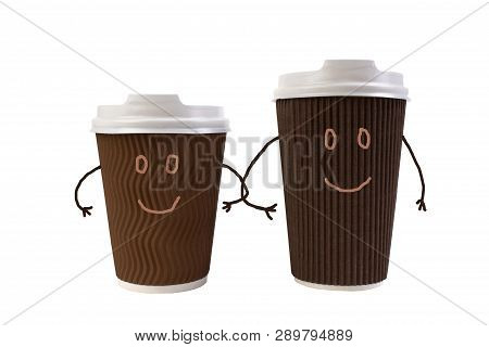 A Pair Of Funny Paper Cups Of Coffee, Tea, Hand In Hand. On A Walk. Isolated White Background.