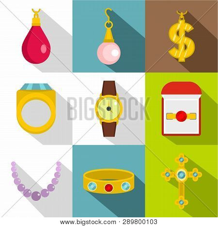 Bijou Icon Set. Flat Style Set Of 9 Bijou Icons For Web Design