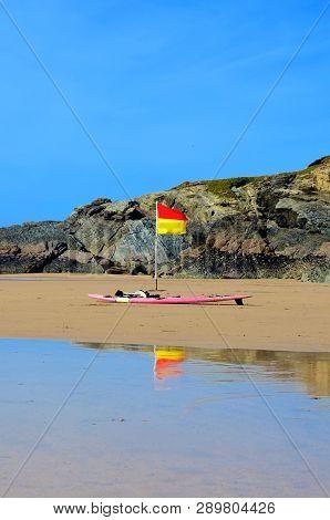 Beach Flag, (lifeguard On Patrol), Lusty Glaze Beach, Newquay, Cornwall