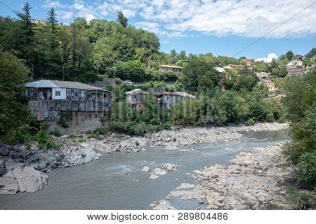 Grey Colored Rioni River In Kutaisi, Georgia