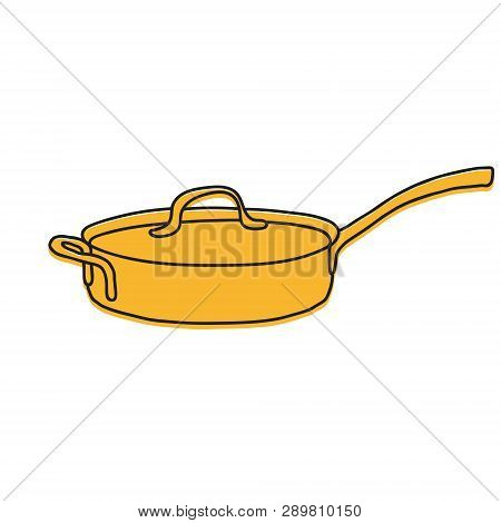 Stewpot Hand Drawn Illustration. Icon, Graphic Symbol, Part Of Image Design , Kitchen Hardware