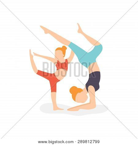 Vector Flat Illustration Mom And Daughter Lead An Active Lifestyle Engaged In Physical Exercise Fitn