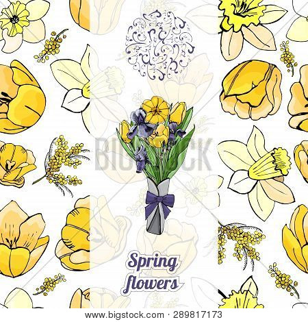 Floral  Vertical Template With Seamless Pattern  Of  Hand Drawn Graphic  And Color Sketch With Yello
