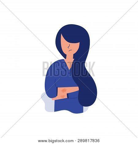 Vector Flat Illustration Of Seasonal Allergy. Skin Rash Itching On Hands Woman Young Girl Needs Medi