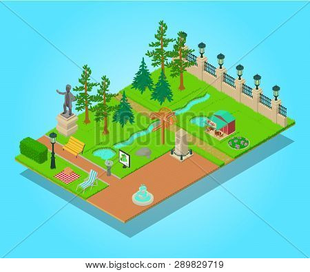 Parkland Concept Banner. Isometric Banner Of Parkland Concept For Web, Giftcard And Postcard