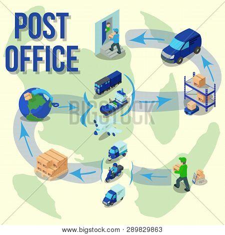 Post Office Concept Banner. Cartoon Banner Of Post Office Concept For Web, Giftcard And Postcard