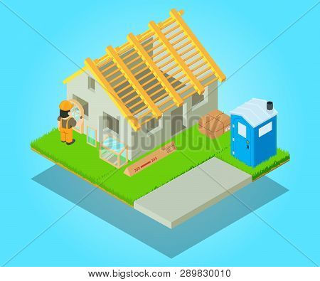 Edifice Concept Banner. Isometric Banner Of Edifice Concept For Web, Giftcard And Postcard