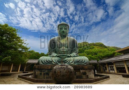 The Great Buddha (Daibutsu) on the grounds of Kotokuin Temple in Kamakura, Japan. poster