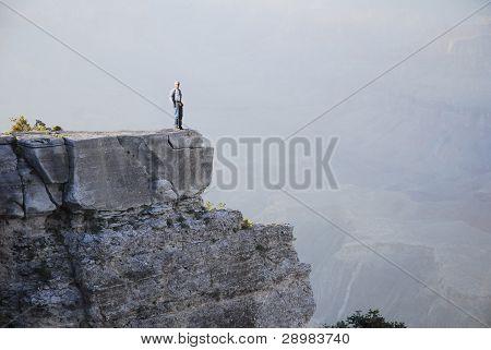 A man on a ledge