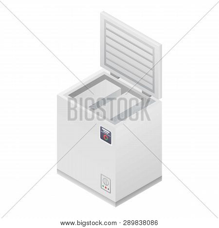 Home Deep Freezer Icon. Isometric Of Home Deep Freezer Icon For Web Design Isolated On White Backgro