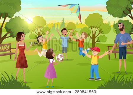 Family Walk In City Park Cartoon Vector. Happy Father And Mother Spending Time With Son And Daughter