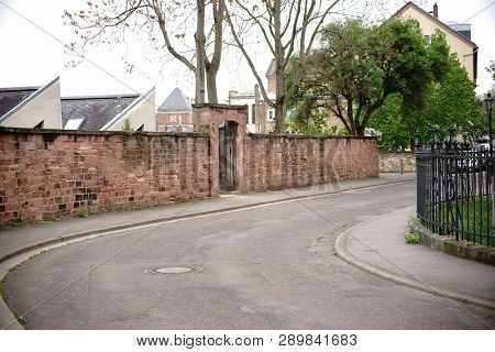 A Road Curve Of The Stephen Street On The Stephen Hill In Mainz Next To The Catholic Parish Church O