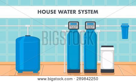 House Water System Cartoon Web Banner With Text. Liquid Purification Technology. Reservoir, Cooler V
