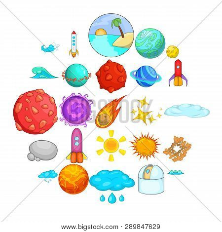 Macrocosm Icons Set. Cartoon Set Of 25 Macrocosm Icons For Web Isolated On White Background