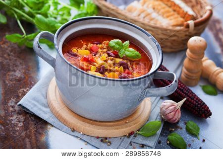 Mexican soup like chili con carne - food and drink