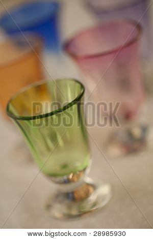 Antique hand blown, multi-colored crystal glasses