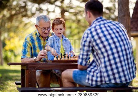 Family relaxing playing chess in the park