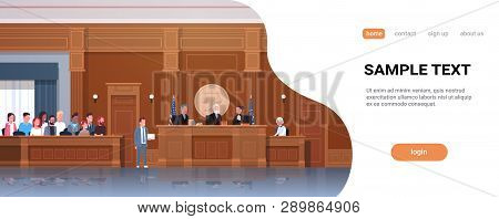 Law Process With Judge Jury Suspect And Lawyer Or Attorney Giving A Speech Court Session Modern Cour