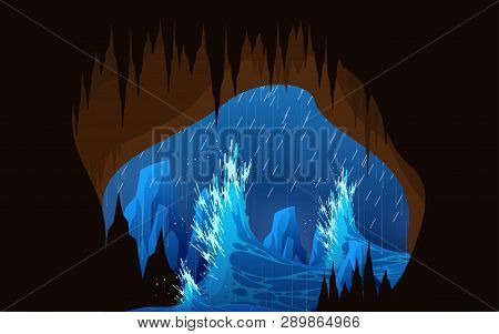 Storm And High Waves At The Cave In The Sea