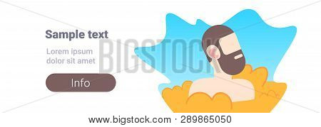 Bearded Man Buried In Sand Up To Head Guy Having Fun On Beach Summer Vacation Concept Male Cartoon C