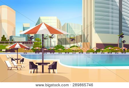 Luxury City Hotel Swimming Pool Resort With Umbrellas Desks And Chairs Restaurant Furniture Around S