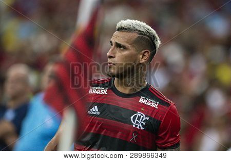 Rio, Brazil - March 16, 2019: Trauco Player In Match Between Flamengo And Volta Redonda By The Cario