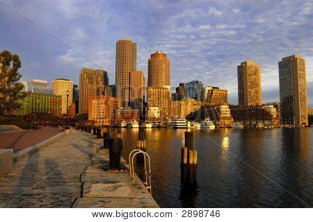 Glowing Boston Skyline At Dawn