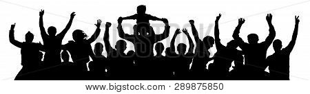 Cheerful Crowd People Silhouette. Child Sits On The Neck Of A Man. Applause People Hands Up. Vector