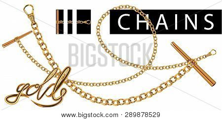 Set Of Realistic Vector Golden Chains With Clasp. Vector Illustration Of Gold Links Isolated On Whit