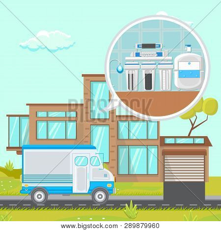 Water Filtration System At Home Flat Illustration. Plumbing Services Van. Reverse Osmosis System Vec