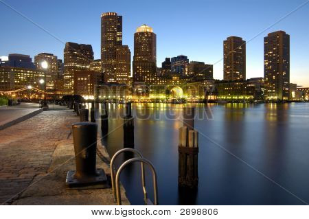 Beautiful Boston Harbor At Night