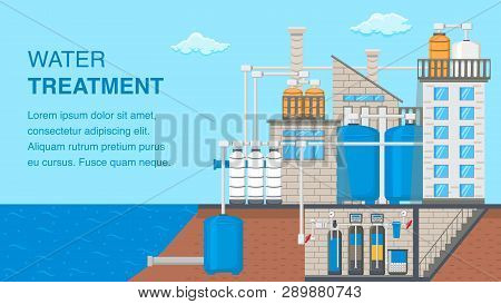 Water Treatment System Banner With Text Space. Water Purification Technology Vector Poster. Reservoi