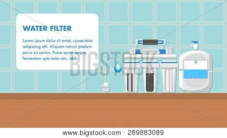Water Filter Banner Vector Layout With Text Space. Reverse Osmosis System Flat Illustration. Reservo