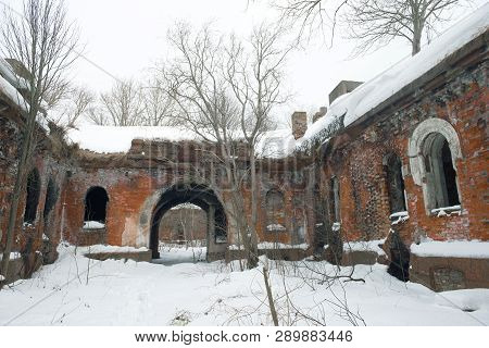 Overcast February Day In The Courtyard Of The Old Abandoned Artillery Fort